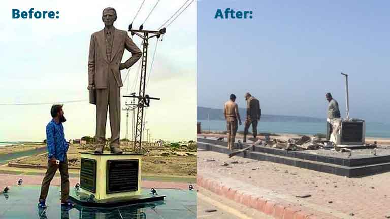 Jinnah's-statue-blew-up-with-bomb-in-Pakistan.